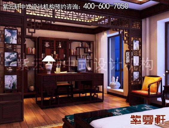 东莞别墅新中式设计案例,书房中式装修效果图