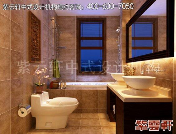 东莞别墅新中式设计案例,卫生间中式装修效果图