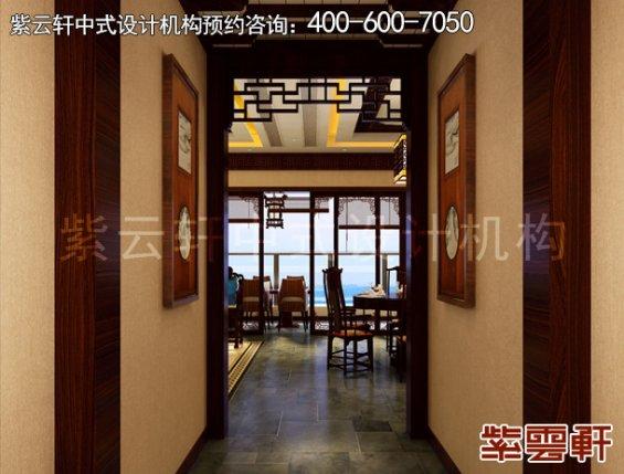 东莞别墅新中式设计案例,过道中式装修效果图