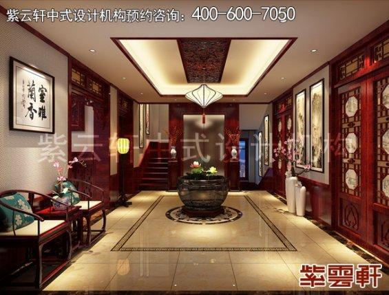 山东即墨黄总别墅古典中式设计案例,门厅中式装修效果图