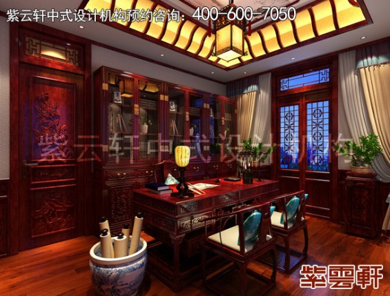 山东即墨黄总别墅古典中式设计案例,书房中式装修效果图
