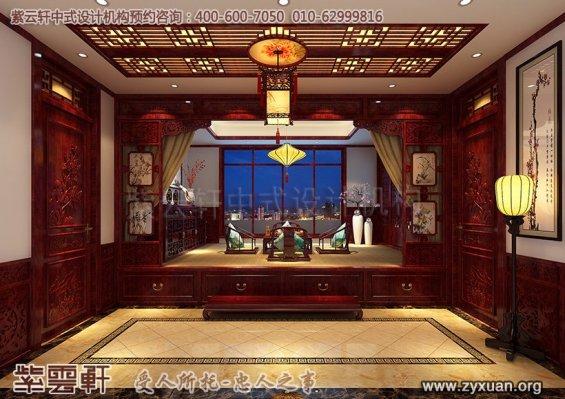 青岛即墨豪宅古典中式装修设计--别墅暖阁中式设计图