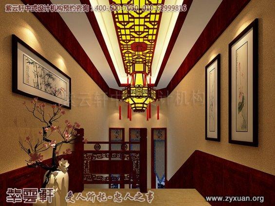 现代中式风格蓟县恒大别墅楼王设计--中式走廊设计图