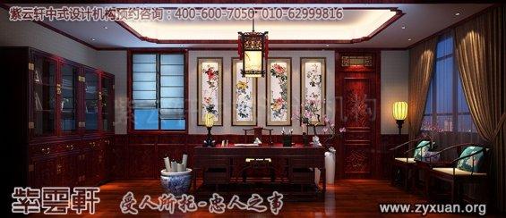 青岛即墨豪宅古典中式装修设计--书房中式设计图