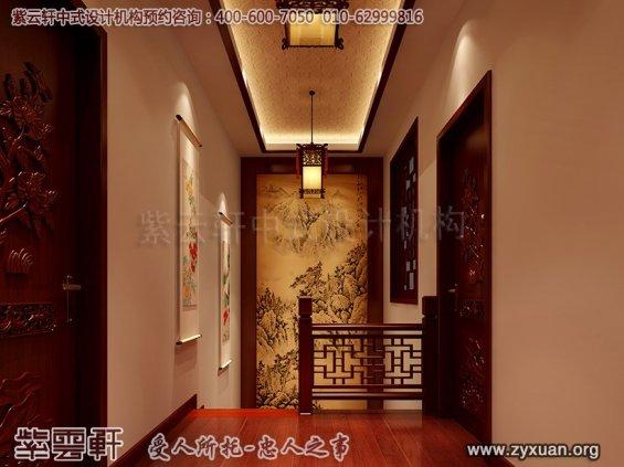 日照复式楼新中式设计案例,楼梯间中式设计图