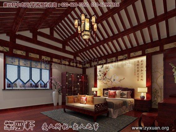 邢台古典中式设计别墅效果图,主卧中式装修图