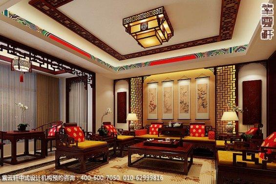 长沙湘江精品住宅中式设计案例,客厅中式装修效果图