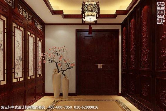 长沙湘江精品住宅中式设计案例,玄关中式装修效果图