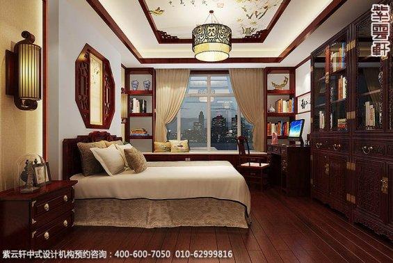 长沙湘江精品住宅中式设计案例,卧室中式装修效果图