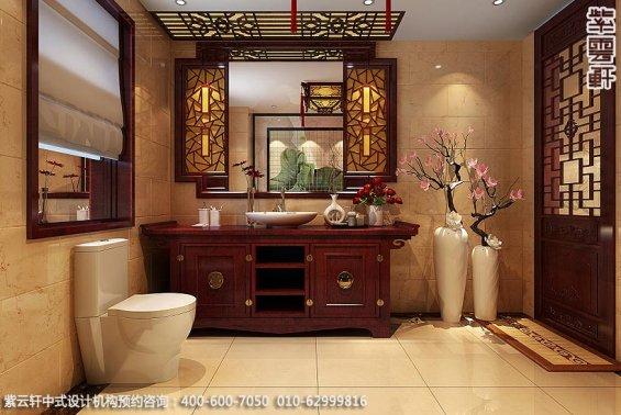 长沙湘江精品住宅中式设计案例,卫生间中式装修效果图