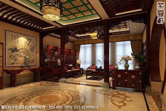 青岛别墅宋宅古典中式设计案例,过道中式装修效果图