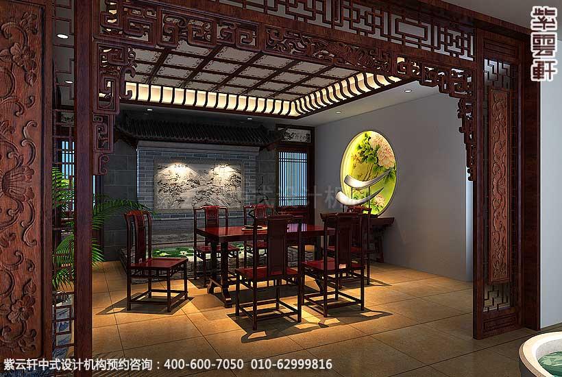 青岛别墅宋宅古典中式设计案例,茶室中式装修效果图