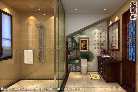 青岛别墅宋宅古典中式设计案例,卫生间中式装修效果图
