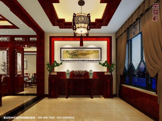 蓟县恒大别墅楼王现代中式设计案例,门厅中式装修效果图