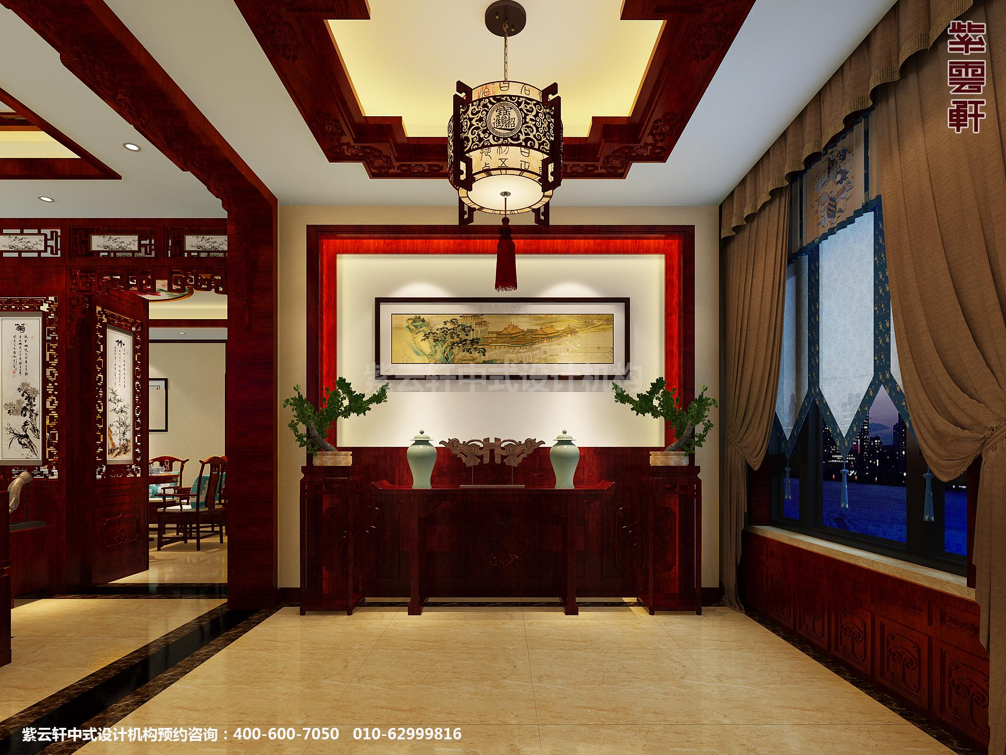 蓟县恒大别墅楼王现代中式设计案例,门厅中式装修效果