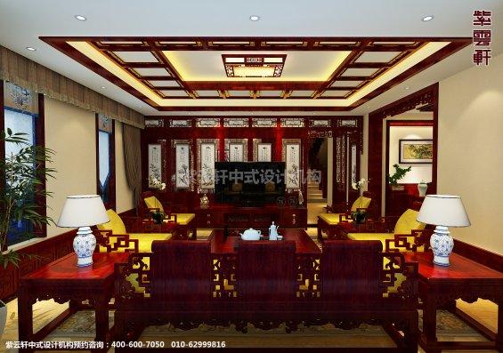 蓟县恒大别墅楼王现代中式设计案例,客厅中式装修效果图