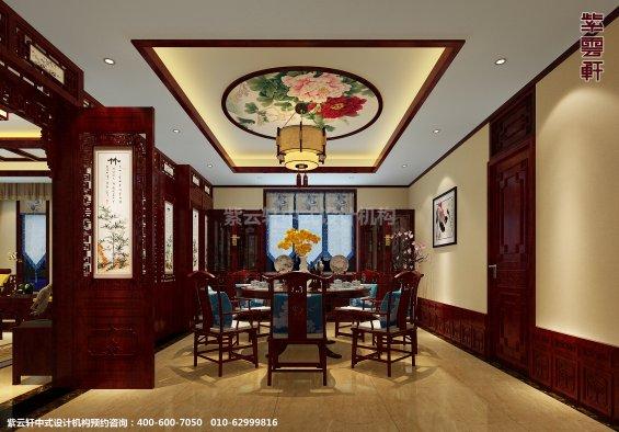 蓟县恒大别墅楼王现代中式设计案例,餐厅中式装修效果图