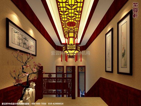 蓟县恒大别墅楼王现代中式设计案例,过道中式装修效果图