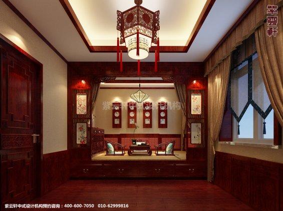 蓟县恒大别墅楼王现代中式设计案例,卧室中式装修效果图