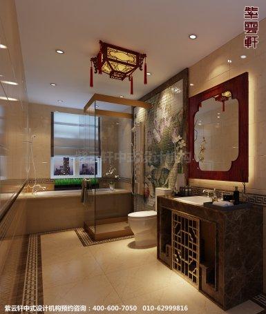 蓟县恒大别墅楼王现代中式设计案例,卫生间中式装修效果图