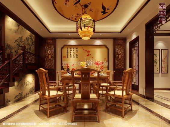 日照复式楼新中式设计案例,餐厅中式装修效果图