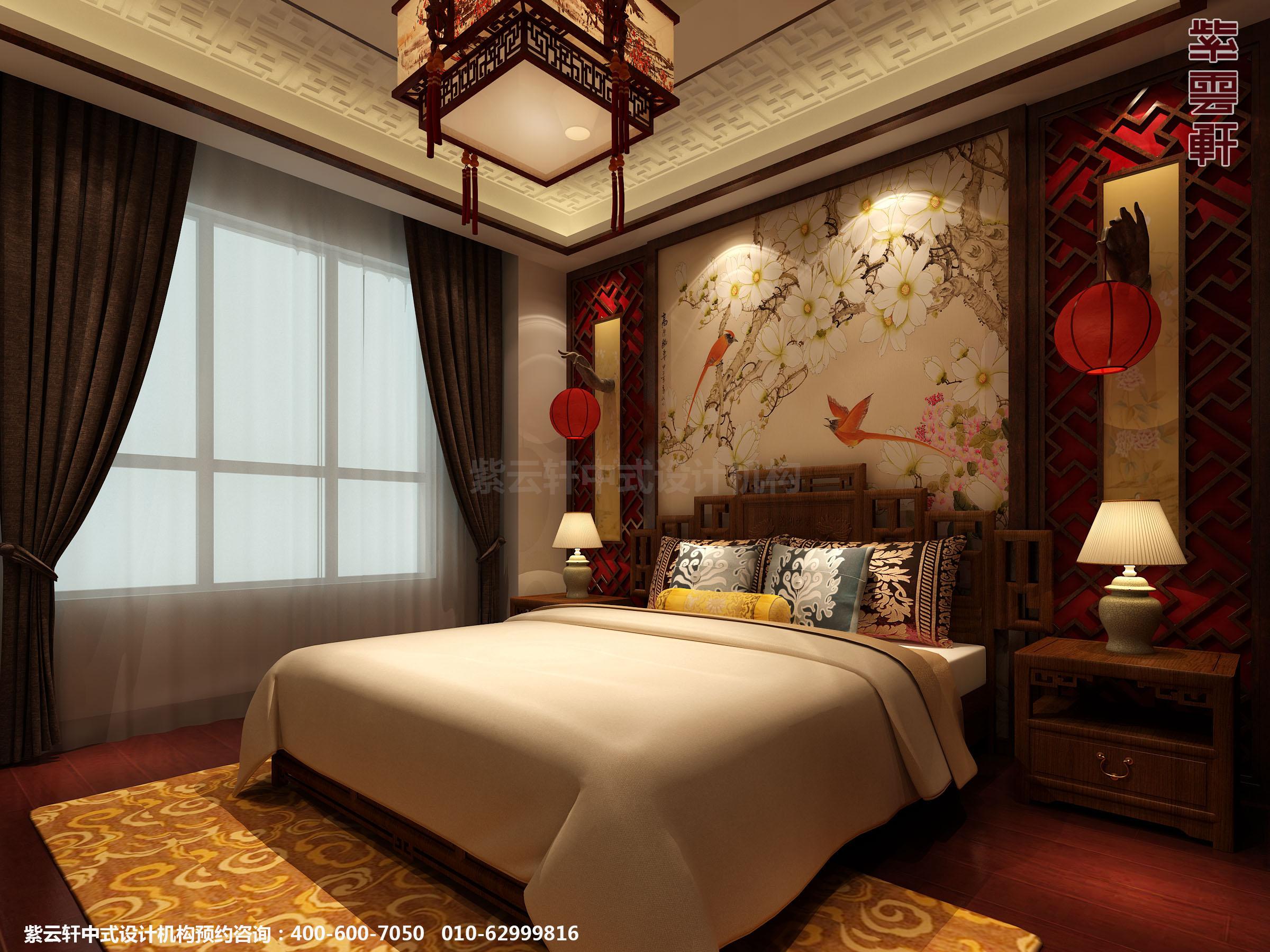 日照复式楼新中式设计案例,卧室中式装修效果图图片