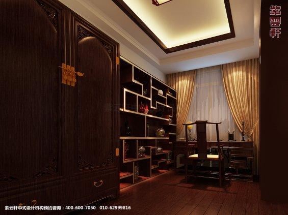 日照复式楼新中式设计案例,书房中式装修效果图