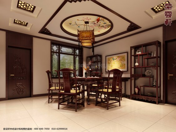 邢台别墅古典中式设计案例,餐厅中式装修效果图