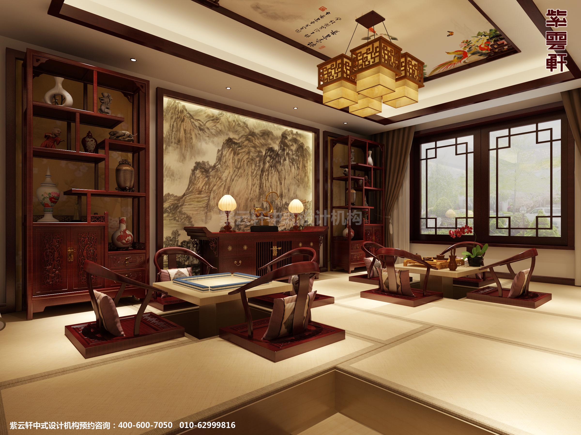 邢台别墅古典中式设计案例,茶室中式装修效果图