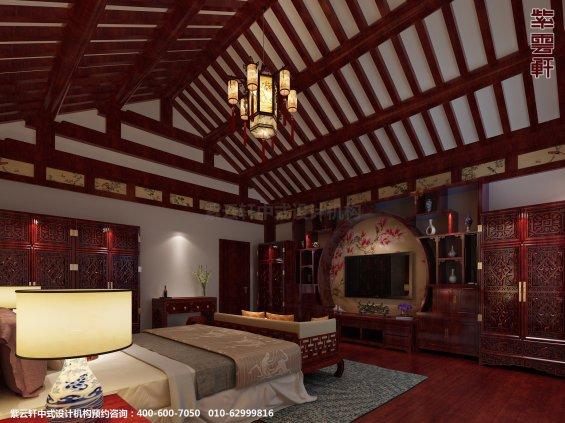 邢台别墅古典中式设计案例,卧室中式装修效果图