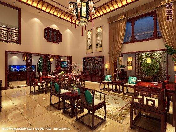 山东济南腊山别墅古典中式设计案例,客厅中式装修效果图