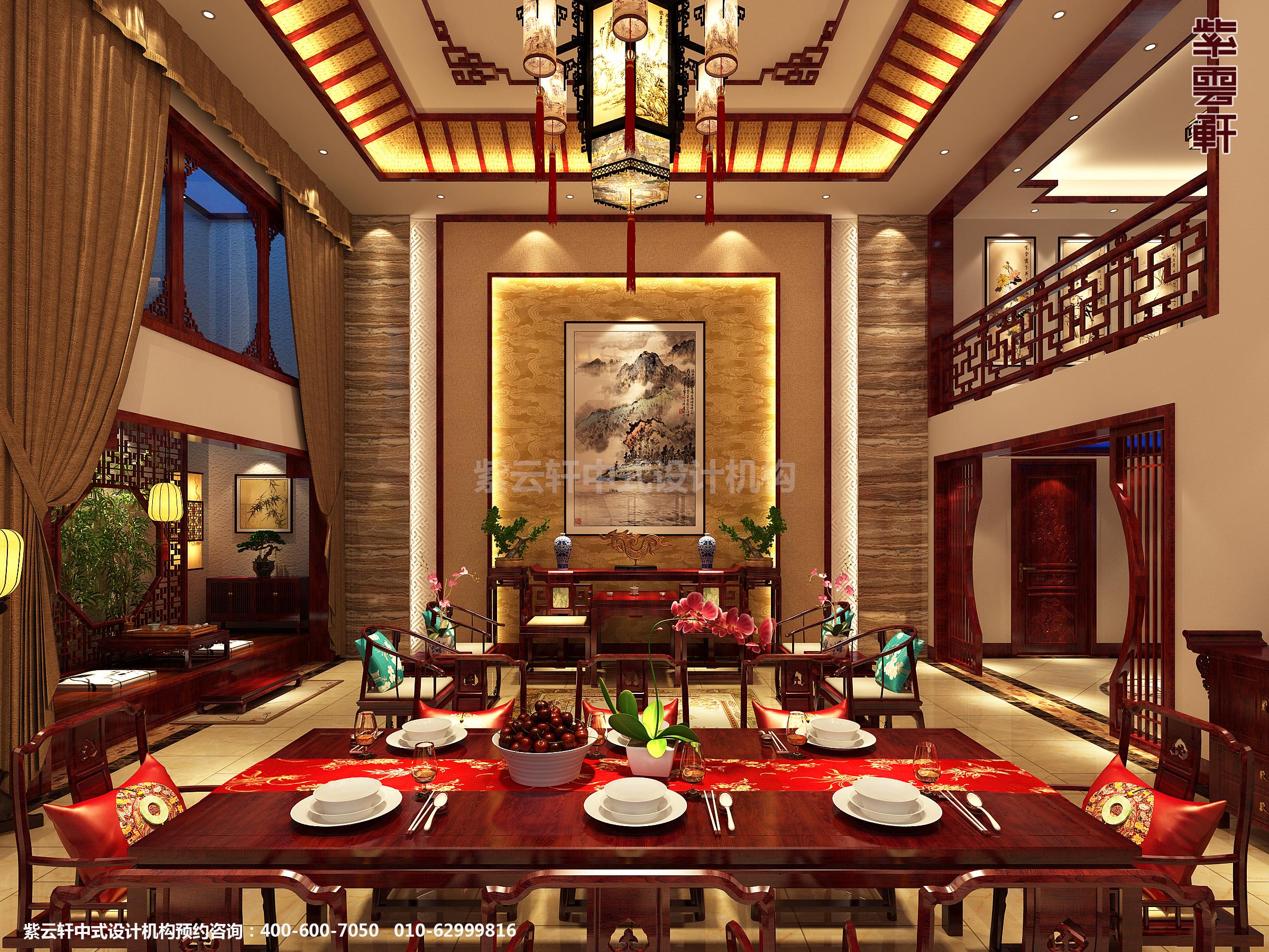 山东济南腊山别墅古典中式设计案例,餐厅中式装修效果