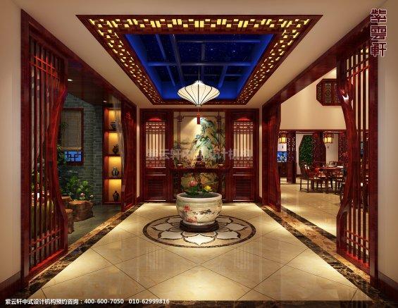 山东济南腊山别墅古典中式设计案例,过道中式装修效果图