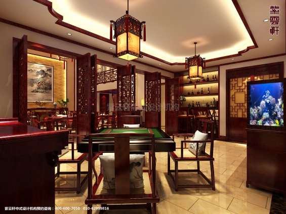 山东济南腊山别墅古典中式设计案例,休闲室中式装修效果图