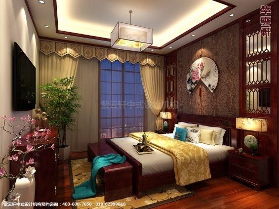 山东济南腊山别墅古典中式设计案例,卧室中式装修效果图