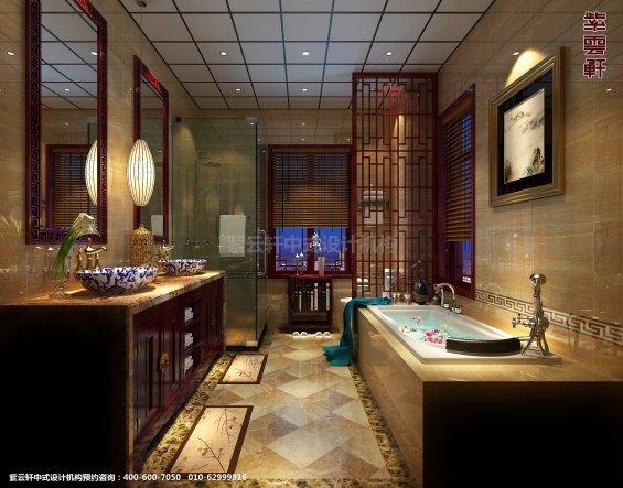 山东济南腊山别墅古典中式设计案例,卫生间中式装修效果图