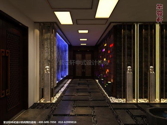 新中式风格高端商务会所设计案例,玄关中式装修效果图