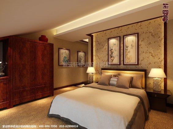 新中式风格高端商务会所设计案例,卧室中式装修效果图