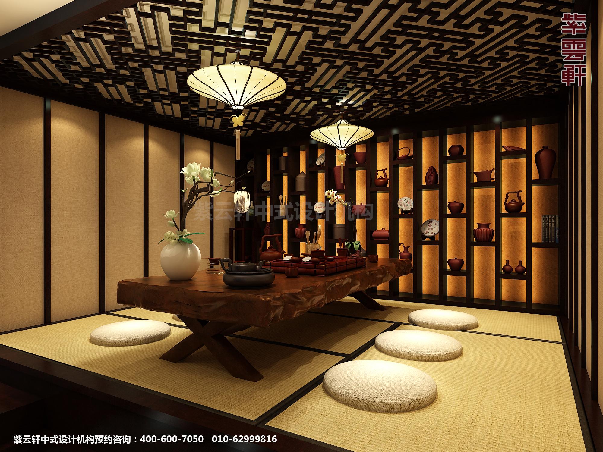 新中式风格高端商务会所设计案例,茶室中式装修效果图