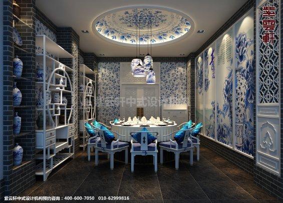 新中式风格高端商务会所设计案例,餐厅中式装修效果图