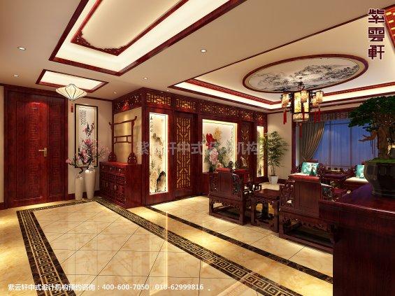 天津书画家住宅中式设计案例,客厅中式装修效果图