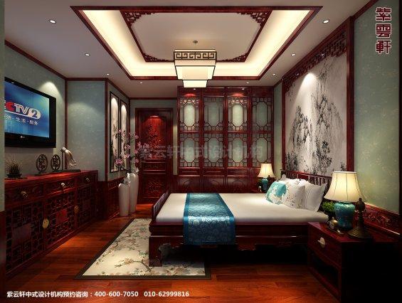 天津书画家住宅中式设计案例,卧室中式装修效果图