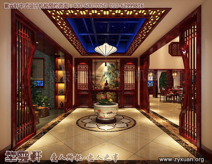 山东济南古典中式风格设计腊山别墅,过厅中式设计图
