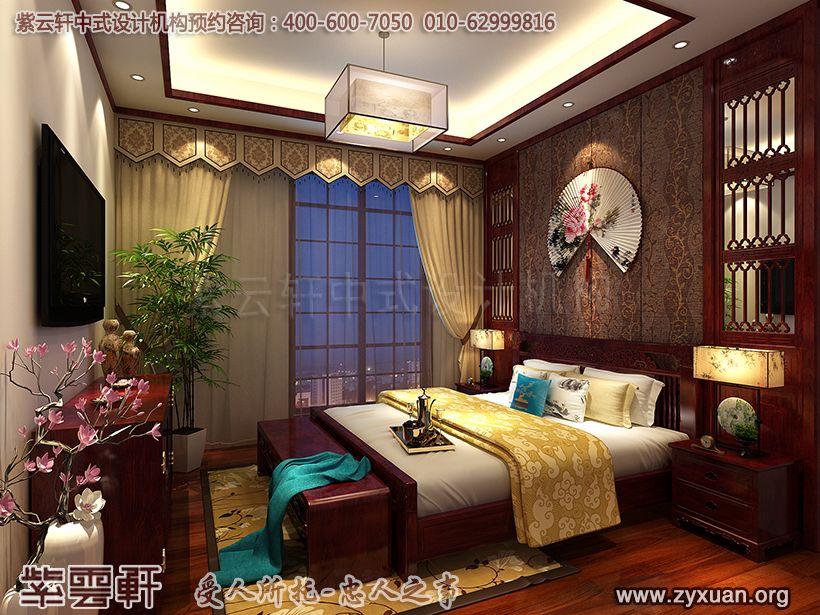 山东济南古典中式风格设计腊山别墅,卧室中式装修图