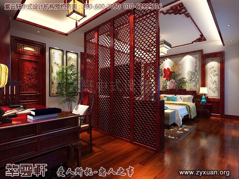 山东济南古典中式风格设计腊山别墅,主卧中式设计图