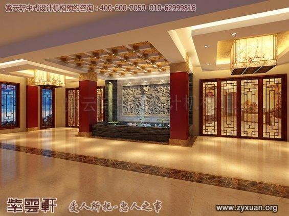 私房菜餐饮会馆新中式装修设计案例,中式餐厅过厅设计图
