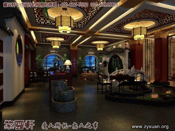 天津私房菜餐饮会馆新中式装修设计案例,餐厅水吧休息区设计图