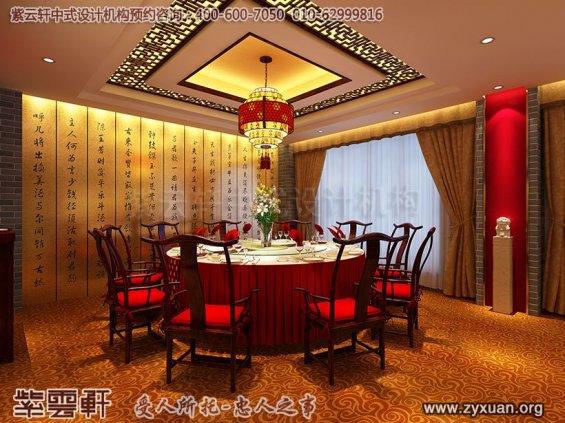 天津私房菜餐饮会馆新中式装修设计案例,餐厅大包房中式设计图