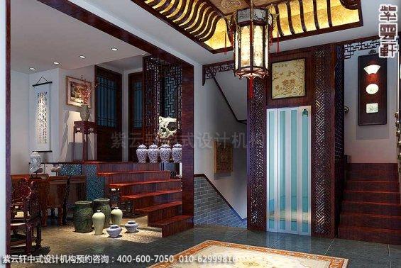 简约古典中式别墅装修案例,门厅中式设计图