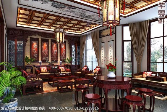 简约古典中式别墅装修案例,客厅中式设计图